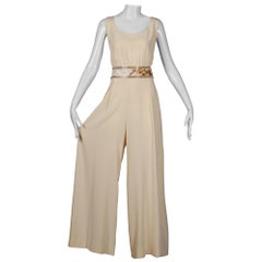 Bob Mackie Vintage Cream Jumpsuit with Metallic Gold and White Beaded Waistband