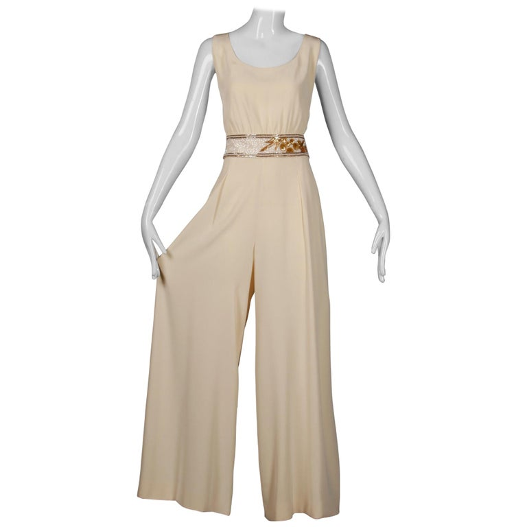 Bob Mackie Vintage Cream Jumpsuit with Metallic Gold and White Beaded Waistband For Sale
