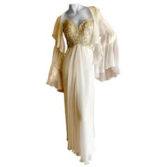 Bob Mackie Vintage Ivory Evening Gown with Silver Beaded Bodice and Shawl