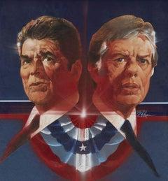 """Ronald Reagan vs. Jimmy Carter Debates,"" Proposed Art for TV Guide Cover"