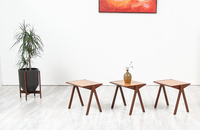 Mid-Century Modern Bob Roukema Cork Top Nesting Tables for Jon Jansen For Sale