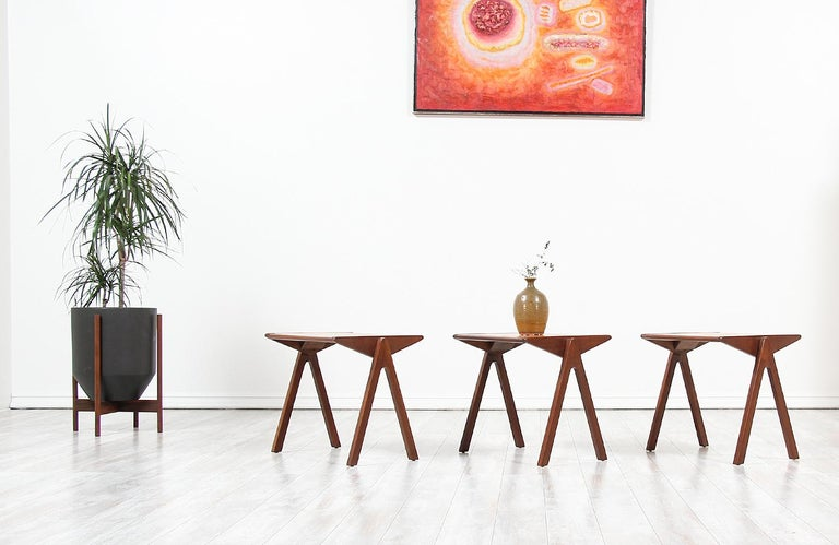 New Zealand Bob Roukema Cork Top Nesting Tables for Jon Jansen For Sale