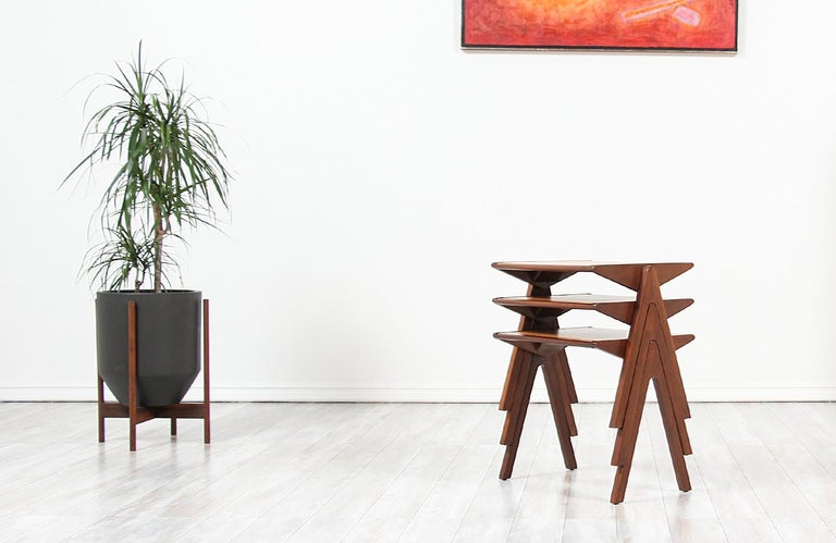 Bob Roukema Cork Top Nesting Tables for Jon Jansen In Excellent Condition For Sale In Los Angeles, CA