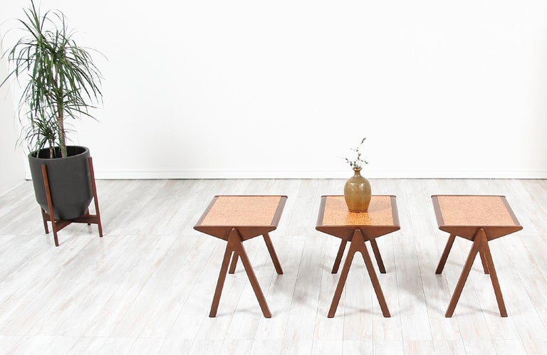 Mid-20th Century Bob Roukema Cork Top Nesting Tables for Jon Jansen For Sale