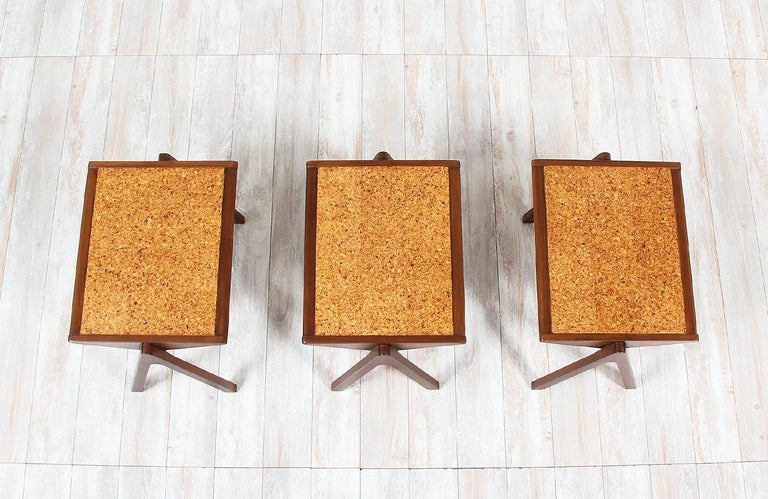 Mahogany Bob Roukema Cork Top Nesting Tables for Jon Jansen For Sale
