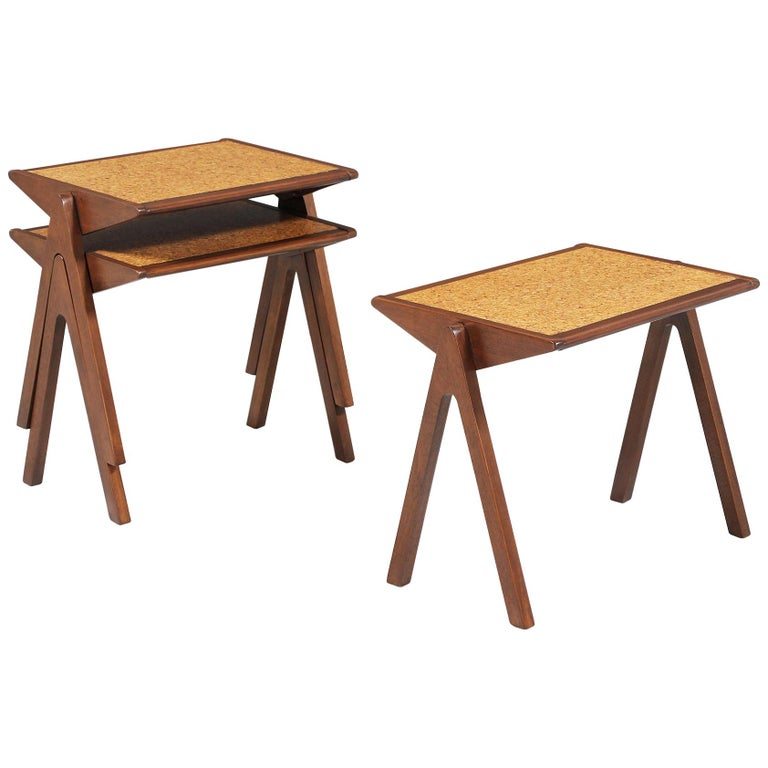 Bob Roukema Cork Top Nesting Tables for Jon Jansen For Sale