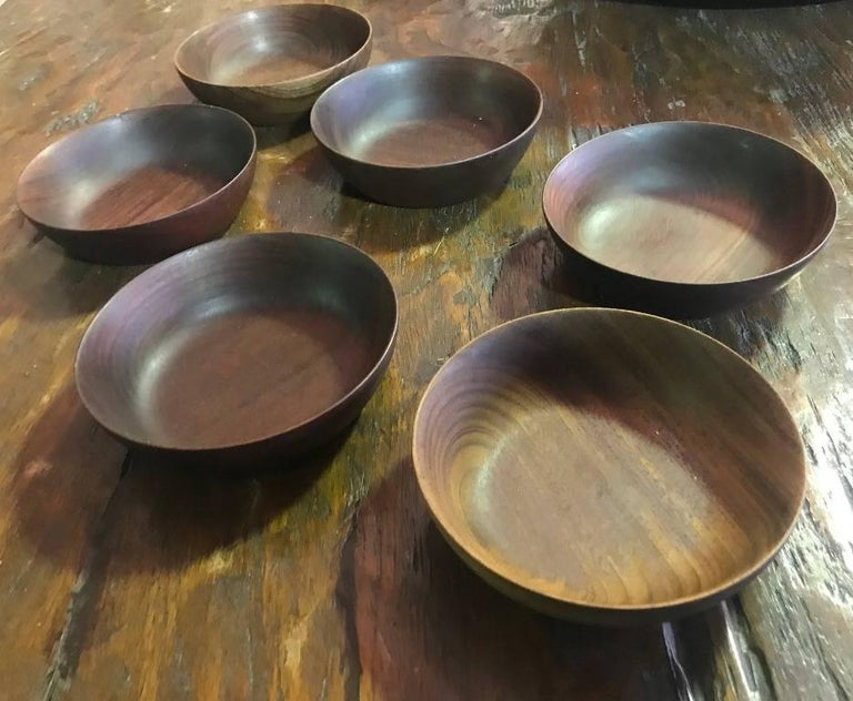 A very handsome, darkly colored set of six bowl by American master wood turner Bob Stocksdale. All are signed and marked (