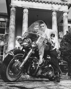 Elvis Presley with his Harley Davidson Motorcycle Fine Art Print
