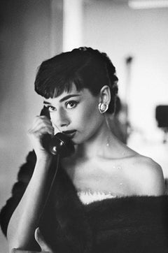 Audrey Hepburn, on Telephone, Paramount Studios - B&W Estate Print