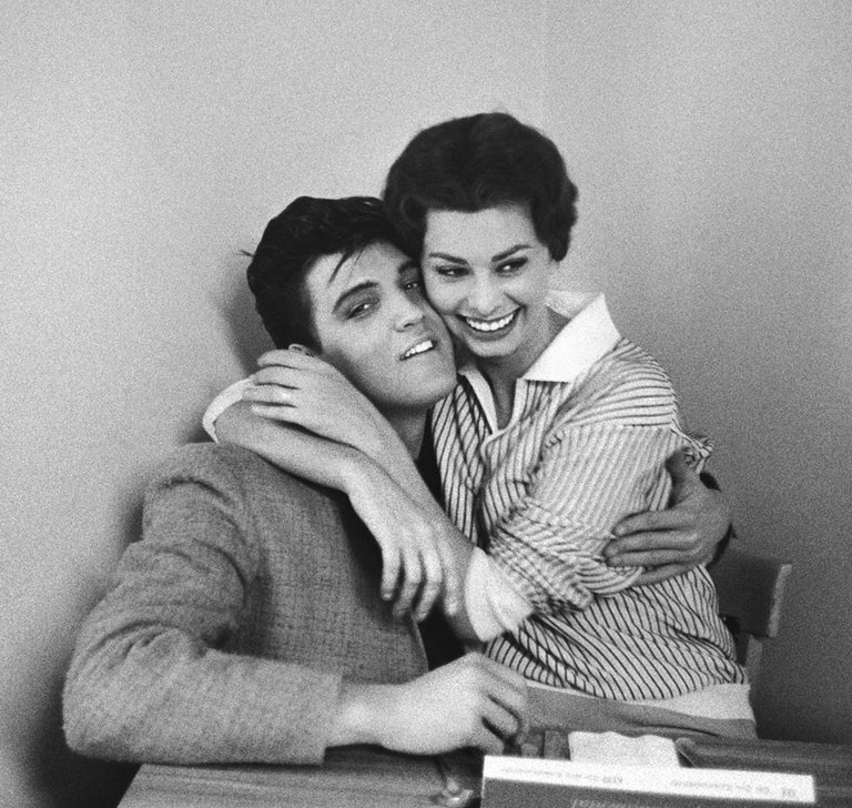 Bob Willoughby Portrait Photograph - Elvis Presley and Sophia Loren, 1958