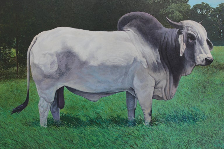 Realist Painting of Brahman Bull Landscape - Gray Landscape Painting by Bob Wygant