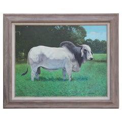 Realist Painting of Brahman Bull Landscape