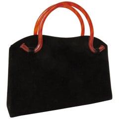 Bobbie Jerome Velvet Handbag with Bakelite Handles 1950s