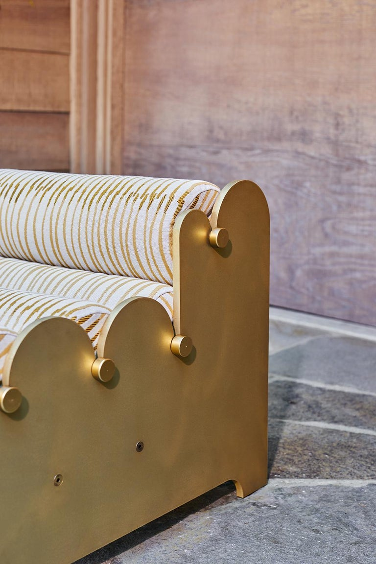 Bobbin Chair, Contemporary Indoor/Outdoor Brass Anodized Aluminum Chair by Laun In New Condition For Sale In San Marino, CA