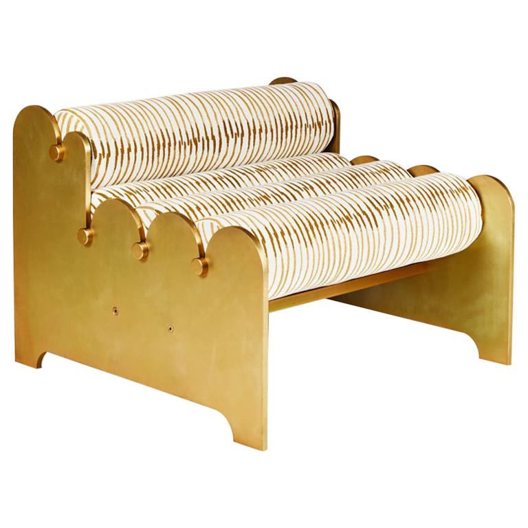 Bobbin Chair, Contemporary Indoor/Outdoor Brass Anodized Aluminum Chair by Laun For Sale