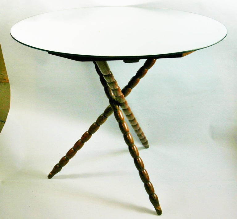 3-624 Jack bobbin wood table base with mirrored top Base is from the 1920's top is later addition.
