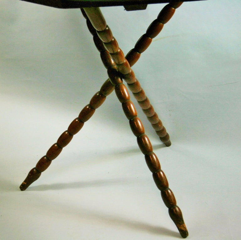 Bobbin Jack Wood Table with Mirrored Top In Good Condition For Sale In Douglas Manor, NY