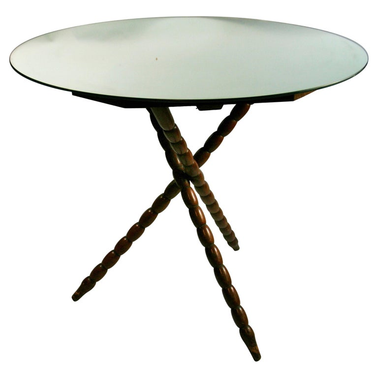 Bobbin Jack Wood Table with Mirrored Top For Sale