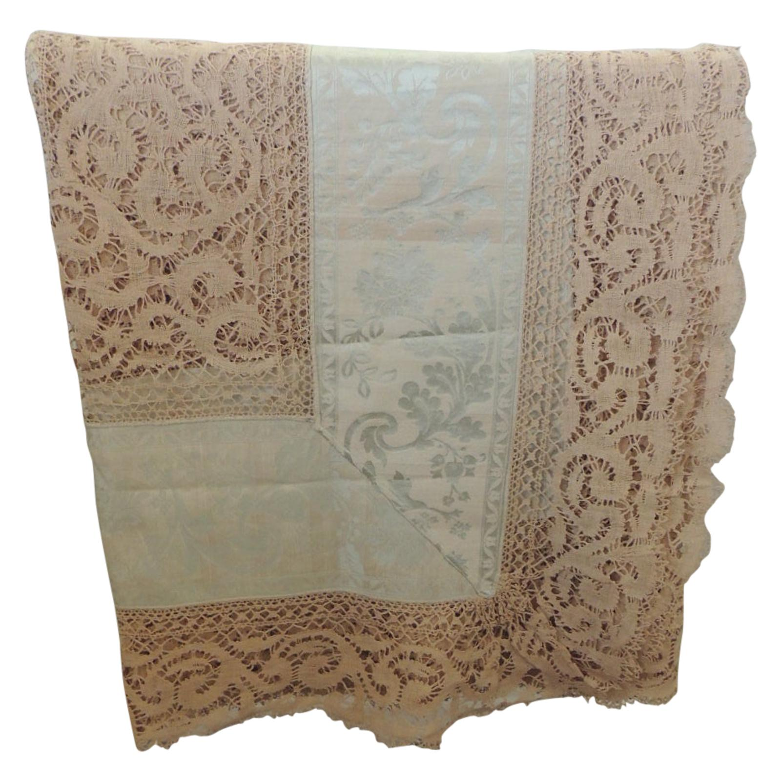 Bobbin Lace and Damask Bed Topper with Large Lace Center Panel