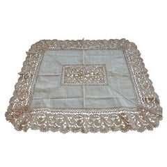Bobbin Lace and Damask Pillow Topper with Large Lace Center Panel