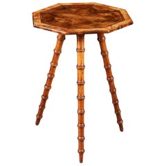 Bobbin Leg Cricket Table with Octagonal Marquetry Top