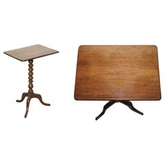 Bobbin Turned Victorian Tripod Side Table in Mahogany with Top Function