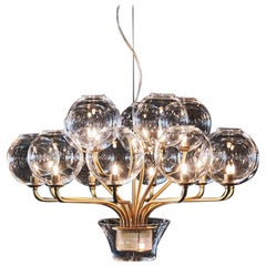 Boblu Carlo Moretti Contemporary Murano Clear and Gold Glass Chandelier