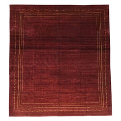 Boccara Exclusive Modern Monochrome Wool Rug, Bordeaux