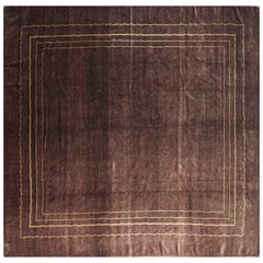 Elegant Artistic Rug designed by Boccara, Design N.33, Brown, 100% silk