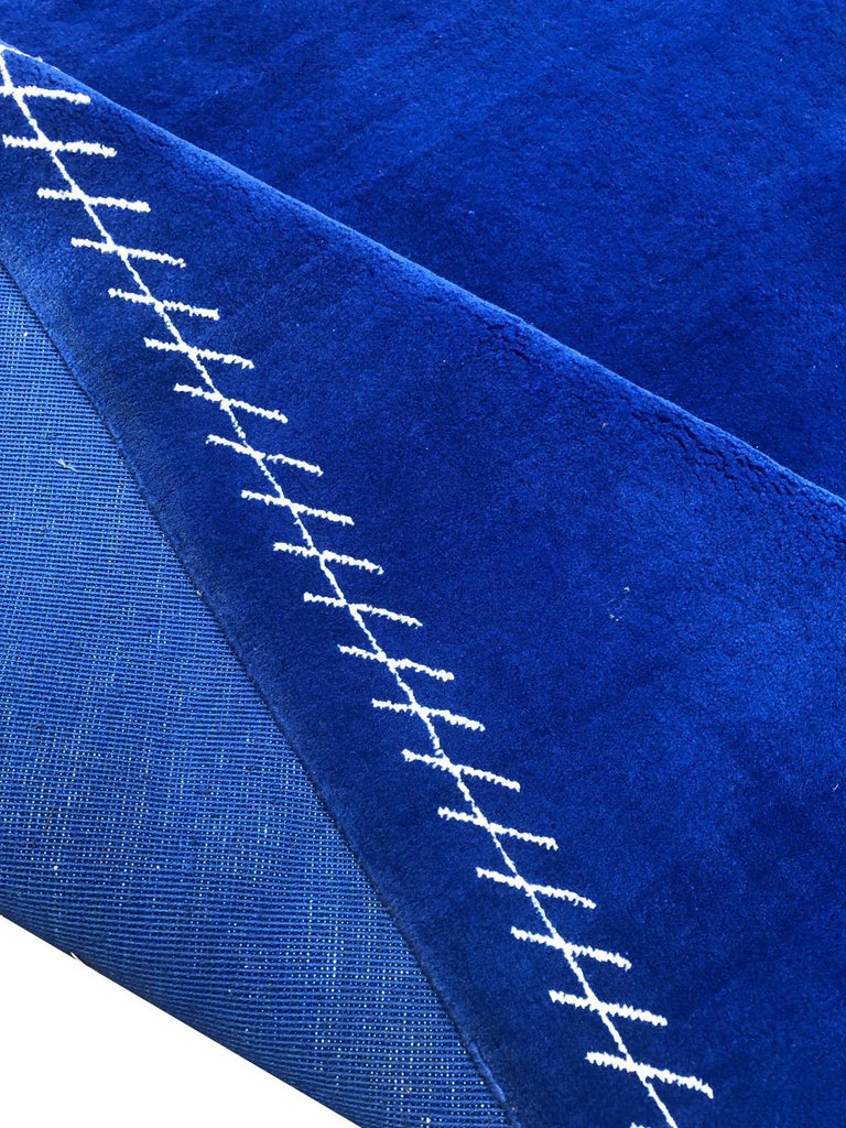 Egyptian Boccara Limited Edition Artistic Rug Blue Saint Tropez For Sale