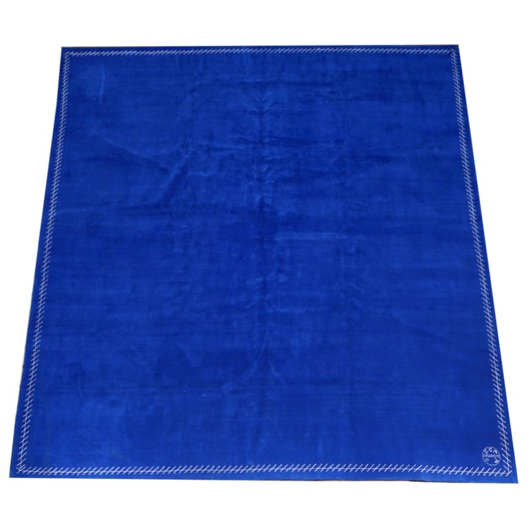 Boccara limited edition artistic rug blue Saint Tropez Manufactured by Boccara Material: Wool with silk border Limited edition of 8 in total Dimensions: 350 x 350 cm; 11.5 x 11.5 ft. Manufactured in Boccara workshop, Egypt Finishing in France,