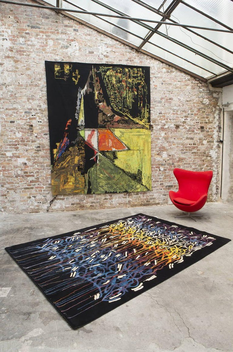 Title: Rainbow Dimensions: 300 x 200 cm; 9.84 x 6.6 ft Composition: natural silk and wool Manufactured by Boccara  John Andrew Perello Alias JonOne is a Graffiti artist and painter of Dominican origin who was born in New York in 1963.  Growing up in