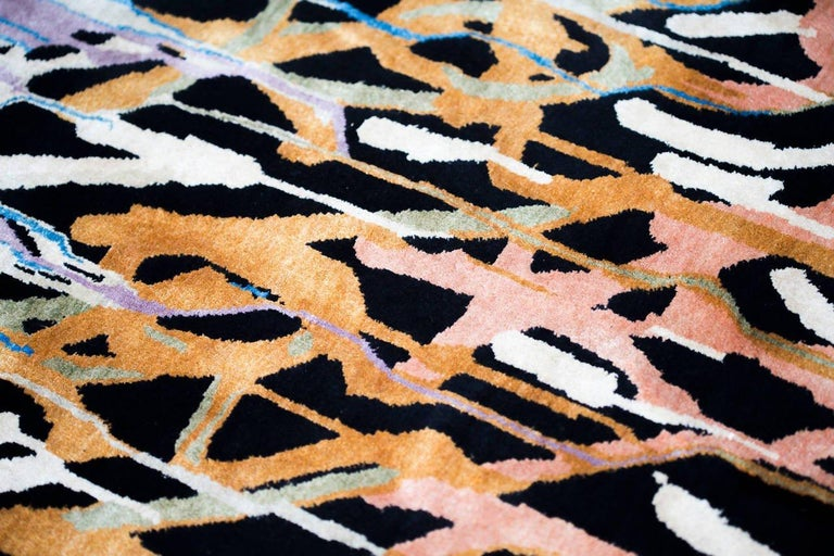Hand-Knotted Boccara Limited Edition Hand Knotted Artistic Rug Designed by JonOne, Rainbow For Sale