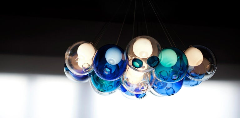 Canadian Bocci 28.19 Cluster Chandelier with 19 Colored Globes with Round Ceiling Canopy For Sale