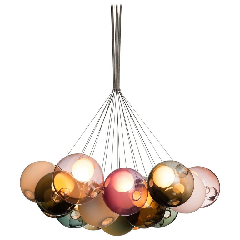 Bocci 28.19 Cluster Chandelier with 19 Colored Globes with Round Ceiling Canopy For Sale