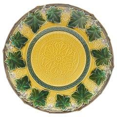 Boch Fr. Set of 7 Art Nouveau Plates, Majolica with Relief, Factory Mark
