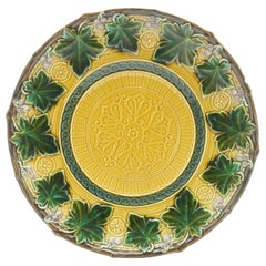 Boch Fr. Set of 7 Art Nouveau Plates, Majolica with Relief, Factory Mark