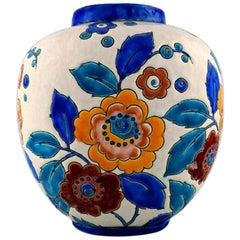 Boch Freres Ceramic, Belgium Large Art Deco Ceramic Vase, 1930s-1940s