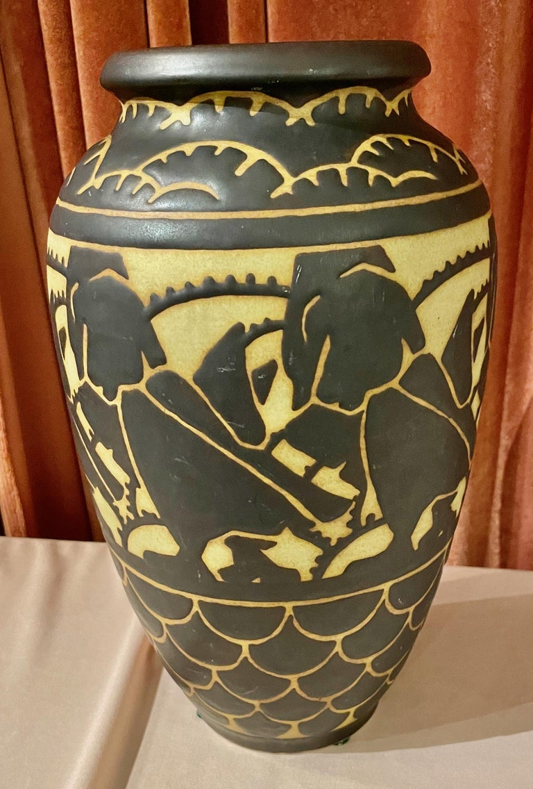 Boch Freres Charles Catteau Animal Stoneware  Vase Art Deco In Good Condition For Sale In Oakland, CA