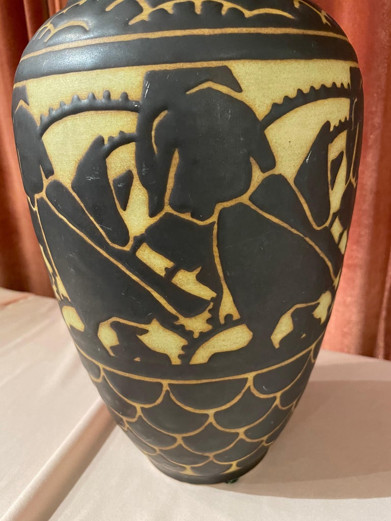 Early 20th Century Boch Freres Charles Catteau Animal Stoneware  Vase Art Deco For Sale