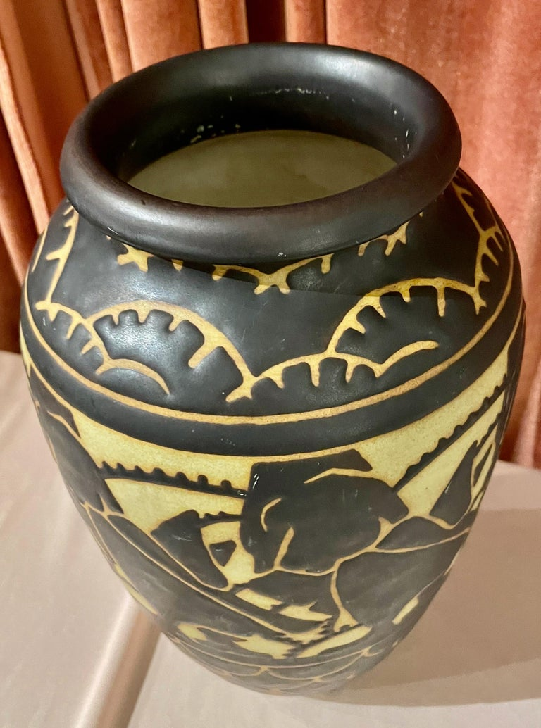 Boch Freres Charles Catteau Animal Stoneware  Vase Art Deco For Sale 1