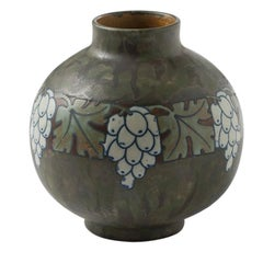 Boch Frères Keramis, Art Deco Vase with Grapes, Belgium, circa 1920