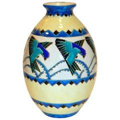 Boch Freres Keramis Belgian Deco Ceramic Vase circa 1920s-1930s, Bird Motif