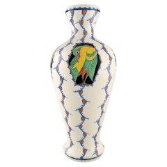 Boch Freres Keramis, Belgium. Large Art Deco Vase in Glazed Ceramics with Birds