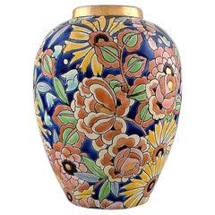 Boch Freres Keramis Belgium Large Hand Painted Art Deco Ceramic Vase 1930s-1940s