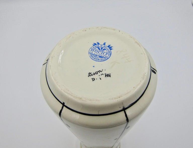 Boch Freres La Louvière Hand Painted Art Deco Vase For Sale 3