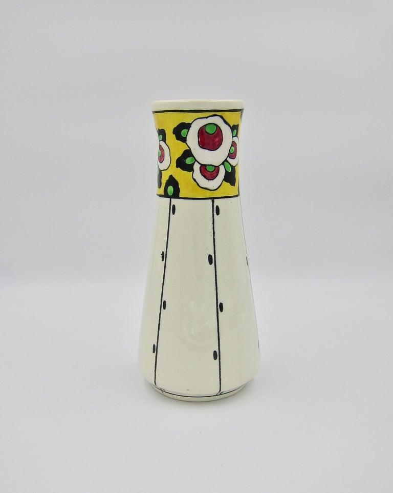 Belgian Boch Freres La Louvière Hand Painted Art Deco Vase For Sale