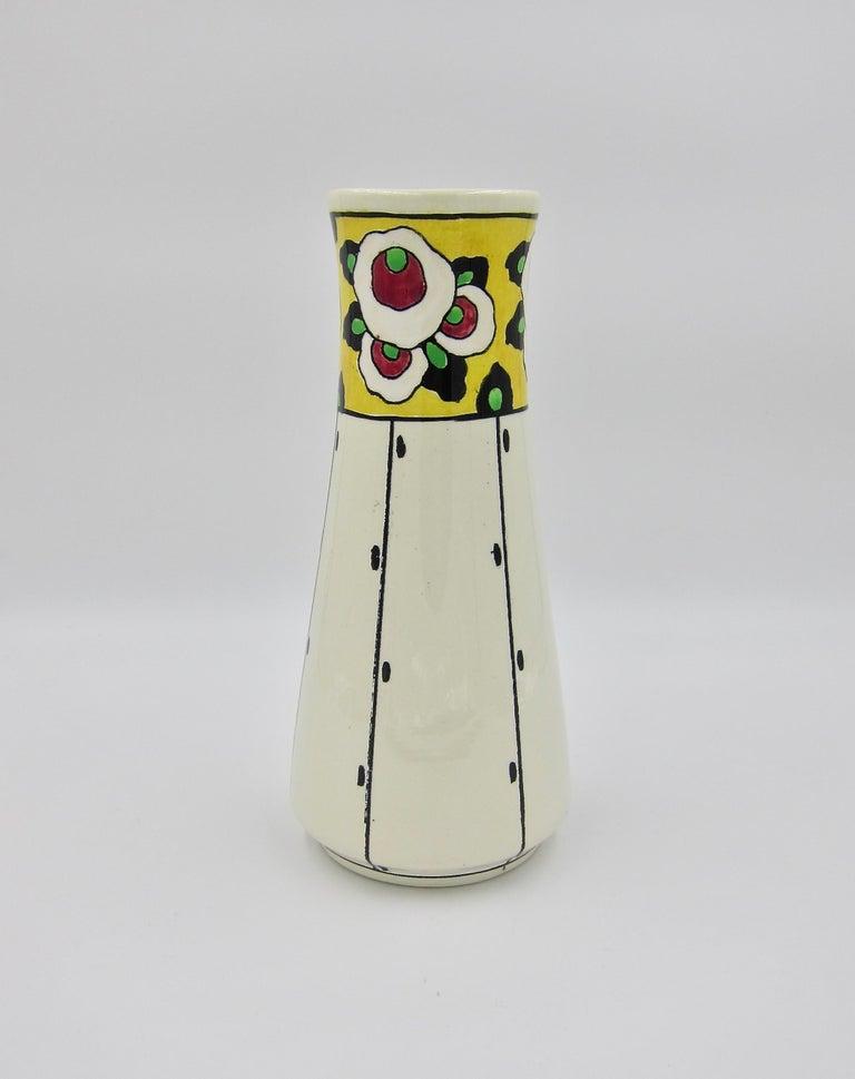 Glazed Boch Freres La Louvière Hand Painted Art Deco Vase For Sale
