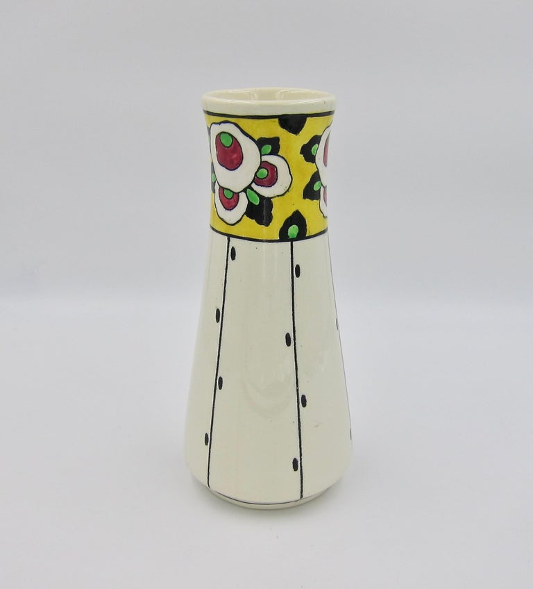 Boch Freres La Louvière Hand Painted Art Deco Vase In Good Condition For Sale In Los Angeles, CA