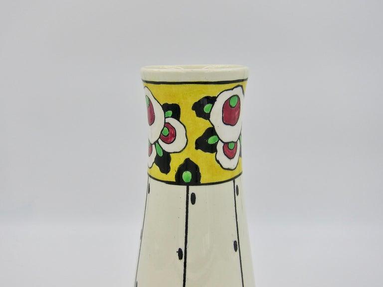 20th Century Boch Freres La Louvière Hand Painted Art Deco Vase For Sale